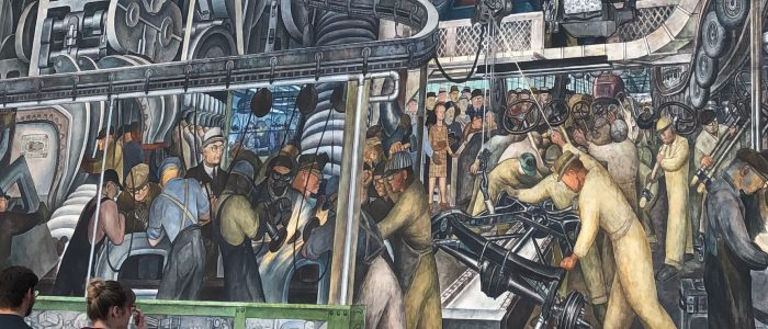 Mexican mural art titled, Detroit Industry Mural by Diego Rivera completed between April 1932-March 1933.